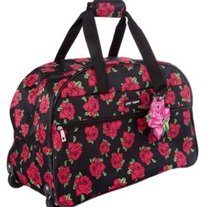 BETSEY JOHNSON Rolling Duffle Bag Pink Roses